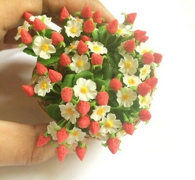 Dollhouse 6 Bunches Miniature Clay Strawberry Flowers Artificial Clay Scale 1:12
