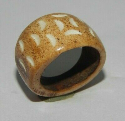 100% Natural Bone Carving Designer Handmade Fashion Jewelry Ring Size 9 R469