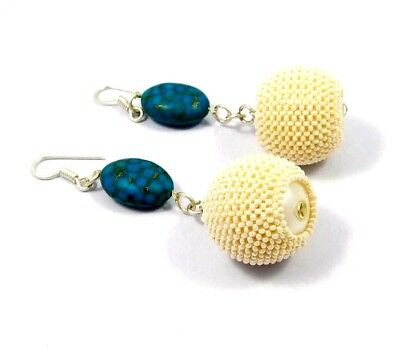 Awesome Vintage Style Turquoise & White Beads Designer Earrings Jewelry W7 (13)