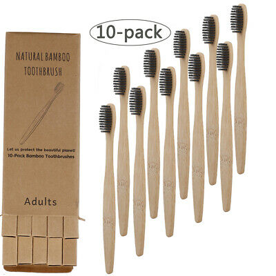 10pcs Bamboo Charcoal Toothbrushes Soft Bristles Eco Friendly Oral Care Travel