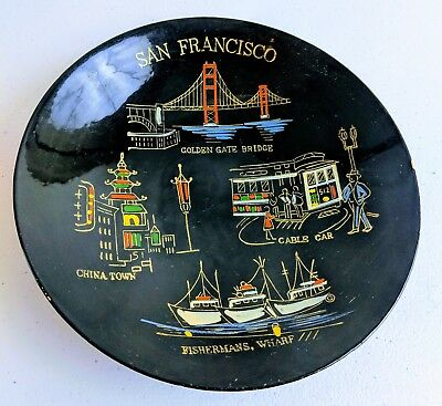 "Vintage Souvenir Wooden San Francisco 8"" Bowl Black and Gold- Golden Gate Bridge"