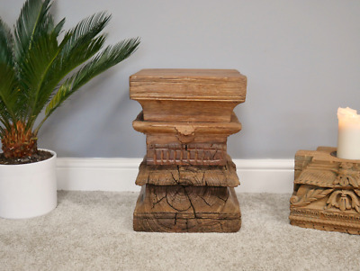Antique Reclaimed Rustic Wooden Indian Pillar Carved Stool Table (Dx5377)