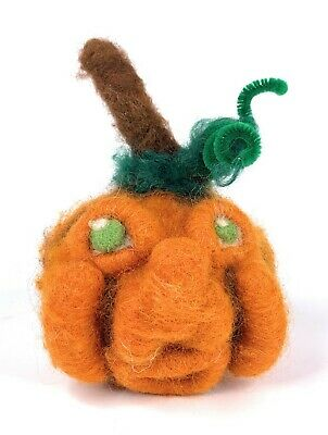Primitive Halloween Anthropomorphic Pumpkin Folk Art Doll Felted Wool