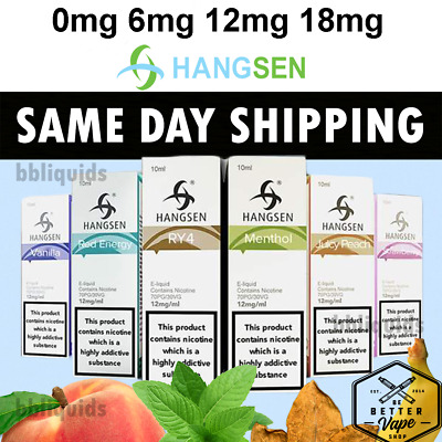 10ml GENUINE HANGSEN E LIQUID JUICE - ECIG ELIQUID REFILL VAPE 0 6-12-18mg