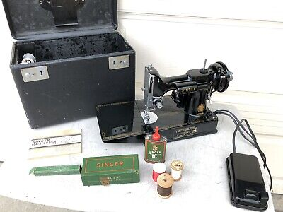 1955 Singer Featherweight 221 Sewing Machine w/ Case, Manual & Attachments READ!