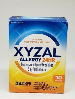 Xyzal Allergy 24 Hour Relief - 10 Tablets 5mg Each | Exp: 10/2020