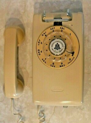 Western Electric Model 554 Ivory Wall Telephone w/Rotary Dial 50's 60's Phone