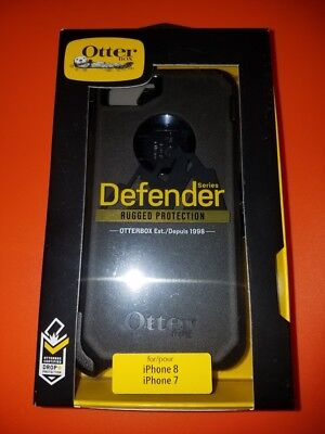 New! OtterBox Defender For Apple iPhone 7 & iPhone 8 Case Black SHIPS NOW