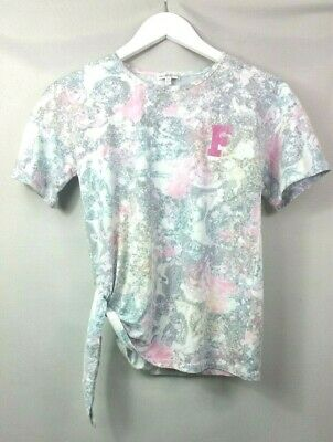 French Connection FCUK Girls TOP T-SHIRT 10-11 Years Pink Patterned