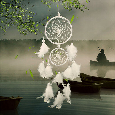 White Dream Catcher Circular With Feathers Wall Hanging Decoration Decor Craf_WK