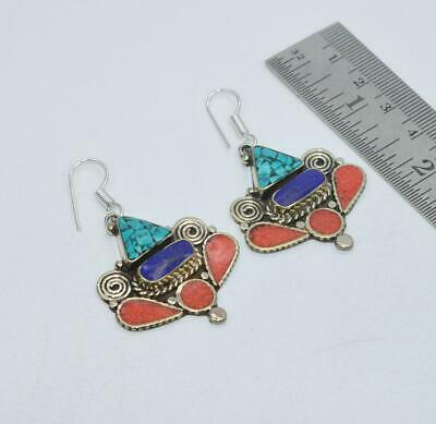 925 TIBETAN SILVER TURQUOISE BLUE LAPIS LAZULI RED CORAL HOOK EARRING oy107