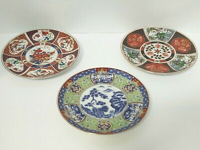 Japanese Vintage Hand Painted Wall Plate Plaque Set of 3 Antique 1950's