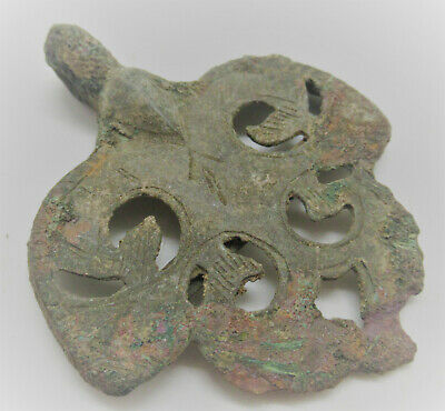 Ancient Medieval Bronze Heraldic Amulet Wearable Artefact 1400-1500Ad