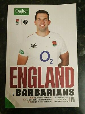 2019 England Vs Barbarians Programme: England Rugby Union