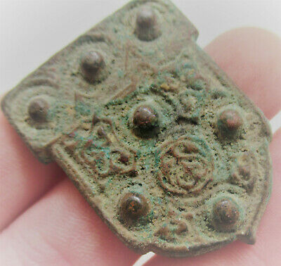Ancient Bactrian Or Scythian Bronze Shield Shaped Mount Needs Further Research