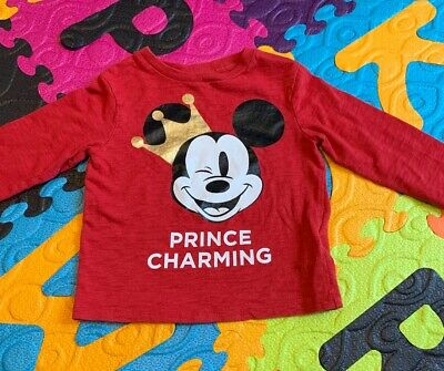 Baby Gap Boy Long Sleeve Red Mickey Mouse Shirt 18-24months