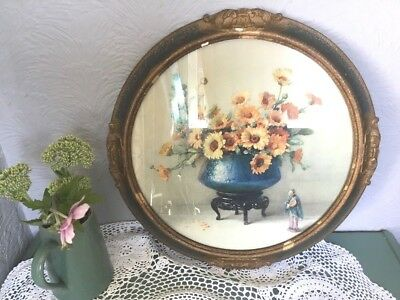 Stunning Antique Gesso Gold Picture Frame-  Marigold flower print-E King #4951