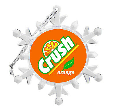 Orange Crush Soda Pop Drink Snowflake Blinking Holiday Christmas Tree Ornament