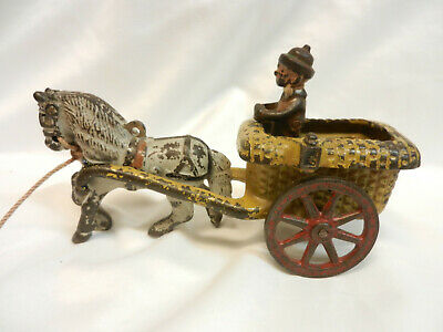Vintage Cast Iron Comic Chester Gump In Cart 1920's