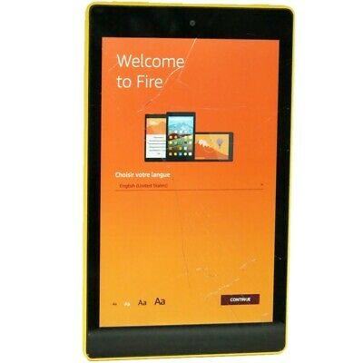 Amazon Fire HD 8 (7th Generation) 16GB, Wi-Fi, 8In - Canary Yellow cracked Glass