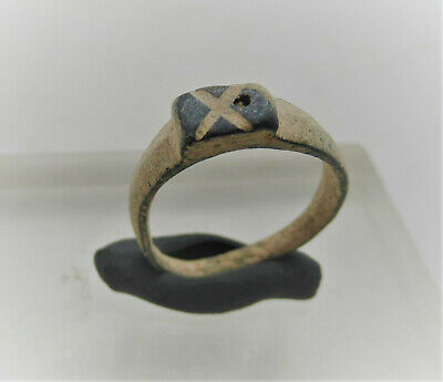 Superb Ancient Roman Bronze Ring With 'X' On Bezel