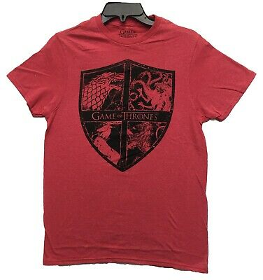 Game Of Thrones Men's Four Houses Sigils Logo Licensed T-Shirt Heather Red New