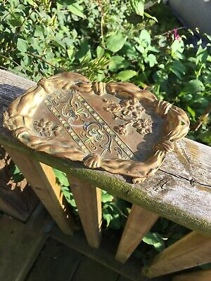 Stunning Antique Art Nouveau Cast Footed Ornate Business Card Tray Heavy