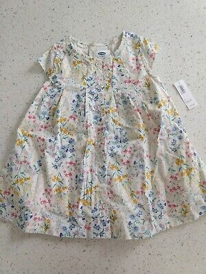 OLD NAVY Toddler Girl Lined Flower Dress Metal Buttons Size 2T BNWT