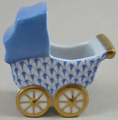 Herend Blue Fishnet Baby Carriage / Buggy