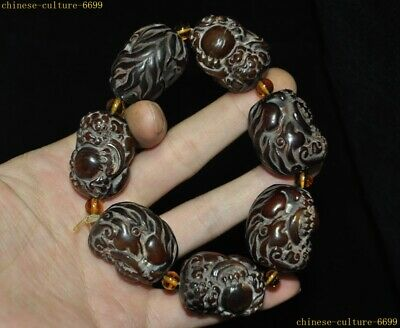 China Ox horn Bull horn Carving Pixiu animal beast bead statue amulet Bracelet