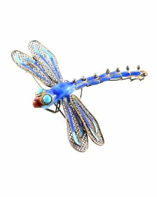 Antique 925S Sterling Silver Chinese Filigree Enamel Turquoise Dragonfly Brooch