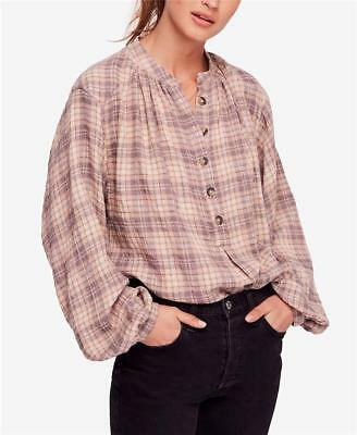 FREE PEOPLE Beige NORTHERN BOUND Flannel PLAID Oversized BLOUSE Shirt TOP L NWT