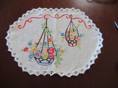 Hand Embroided And Crochet Centre Piece On Semco Linen Vintage