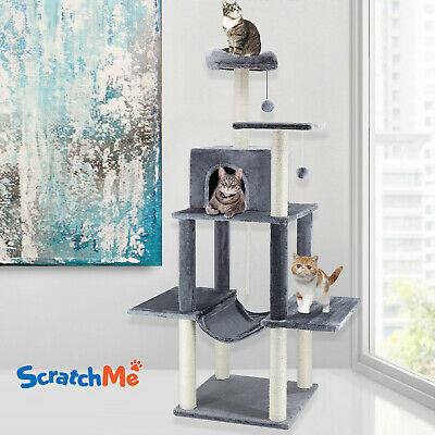 ScratchMe Cat Tree Tower with Hammock & Scratching Post, Pet Play House with Toy