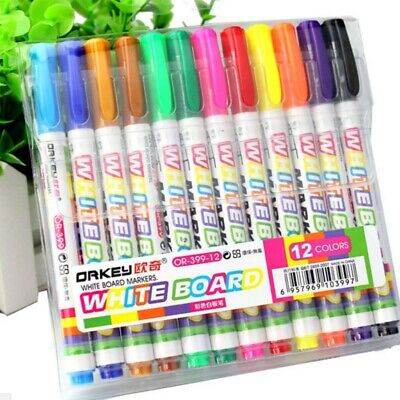 12 Colors Whiteboard Marker Non Toxic Mark Sign Fine Nib Set Supply Kids Gifts