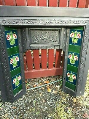 Victorian Style Cast Iron Tiled Coal Fireplace, Wood Mantel, Natural Gas