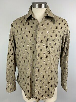 VTG 70s mens Le Mans L Large ant insect print disco hipster shirt long sleeve