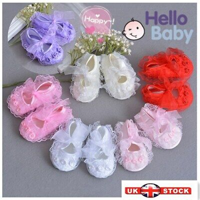 New Baby Girls Satin Christening Shoes Pink Red White Yellow Ivory 0 -9 Month