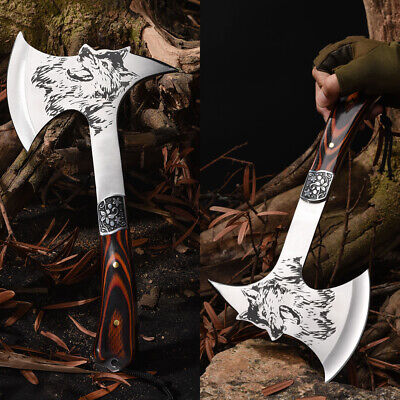 """12.2"""" Camping Hatchet with Sheath Outdoor Polished Axe Survival Wolf Tomahawk"""