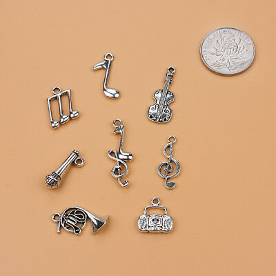 8pcs/lot Music Charm Mixed Silver Pendant DIY Jewelry Accessories Necklace  Cute