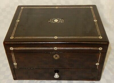 Antique Large Inlaid Mahogany Jewellery Work Sewing Box D19
