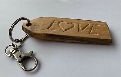 Handmade key ring. keyring, key holder made from whisky barrel, LOVE HEART