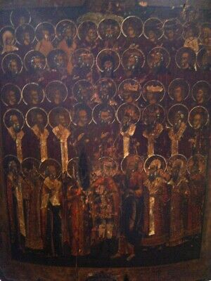 Impressive 18/19th Century Russian Orthodox Icon Multiple Holy Figures.