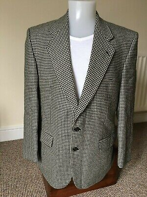 Mens Kurt Geiger Dogtooth/Houndstooth Black/Off White Check Wool Jacket Size 42R