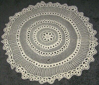 "Old Crochet Huge Shabby Chic Round Table Centre Hand Crochet Battenberg 29"" 74cm"