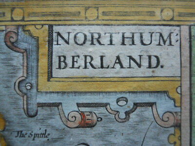 Map, John Speed, 1676, Northumberland, Antique Original, Framed