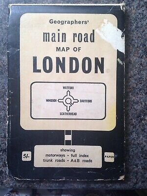 Vintage Geographers' Main Road Map of Greater London