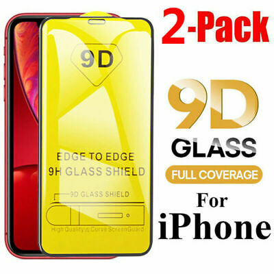 2pcs For iPhone 11 X XS XR XS Max 9D Full Cover Tempered Glass Screen Protector