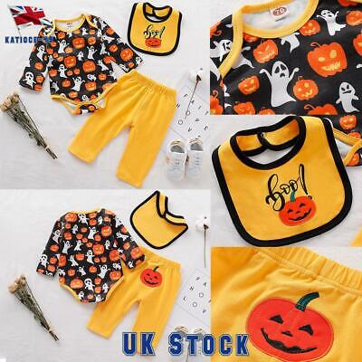 Borlai 3pcs//Set Baby Halloween Pumpkin Outfits My First Halloween Romper Trousers Cap Fashion Baby Clothes for 0-18 Months