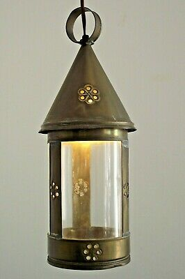 Vintage French Rustic Hand Made Copper Pixie Lantern Round Glass Shade 1459